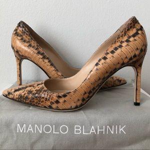 Manolo Blahnik Tan Brown Python Snakeskin Pumps